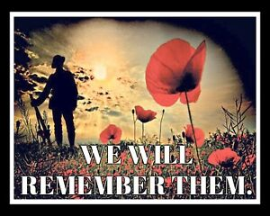 WE WILL REMEMBER THEM REMEMBRANCE DAY POPPY POPPIES WORLD WARS METAL PLAQUE R54