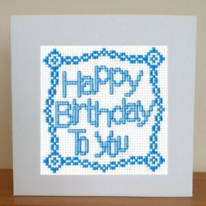 Counted Cross Stitch Card Kit - Happy Birthday To You - Blue
