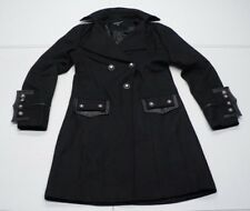 Peppe Peluso Max Womens S Black Mixed-Media Lined Hip-Length Trench Pea Coat