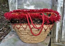 FLORA BELLA Red/Natural Woven STRAW Embellished BEADED L / XL TOTE Beach Bag