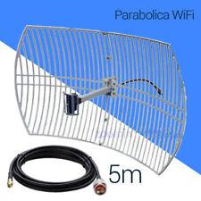 🔥🔥 Antena parabólica rejilla 24dBi con cable pigtail 5 metros conector RP-SMA