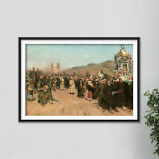 More details for ilya repin - religious procession kursk province (1883) poster painting print
