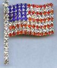 & Flag Pole Pin Broaches #2044 2 Patriotic Genuine Austrian Crystal Usa Flag