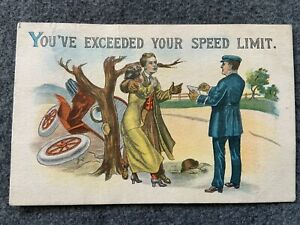 You've exceeded your speed limit Vintage Postcard