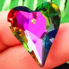 6pcs Faceted Rainbow Titanium Crystal Heart Pendant Bead 26x21x7mm SHSJ388