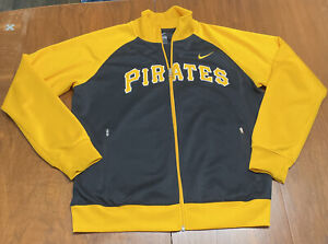 Nike Pittsburgh Pirates MLB Spell Out Track Jacket Zip Pockets Large Yellow Blac