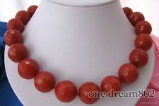"""18""""18mm nature round red faceted agate necklace"""