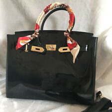 Black ! Women  Metal Buckle Candy Color PVC Jelly Handbag Plastic Tote Bag