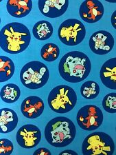 Pokemon Fabric - Blue with Characters in Circles - 100% Cotton