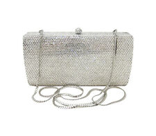 AnthonyDavid Clear Crystal Silver Metal Clutch Evening Bag w/ Swarovski Crystals