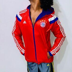 Rare Adidas Germany Bayern Munchen Woven Nylon Glanz Anthem Jacket Sexy Red XL