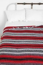 """Authentic Mexican Falsa Blanket Hand Woven Mat Bed Blanket 76L x 53W """" Red"""