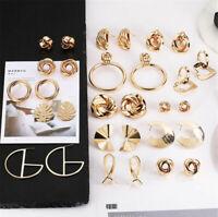 Jewelry Women Alloy Earrings Dangle Silver Geometric Gold Metal Drop Stud Retro