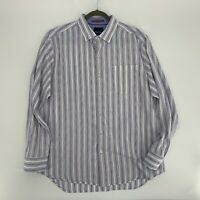 Tommy Bahama Men's Button Down Shirt Size L White Striped Cotton Long Sleeve Q1
