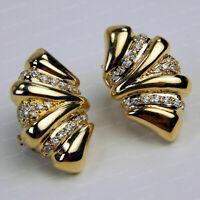 0.50 Ct Round Cut White Diamond Omega Back Stud Earrings 14k Yellow Gold Finish
