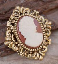 Vintage Brooch Cameo Pin Gold Diamond Costume Jewellery Retro 1980s Jewelry