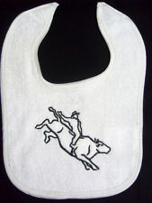 BULL RIDER  - HORSE RODEO  BIB - AVAILABLE IN PINK WHITE AND BLUE BIBS BRAND NEW