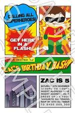 Personalised Boys Superhero Hero Batman Robin Birthday Party Invite Invitation