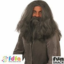 WIZARD HAGRID CAVEMAN HALLOWEEN WIG & BEARD - mens fancy dress accessory