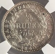 1840 -C Victoria With Continuous Legend INDIA 1/4 Rupee Graded NGC MS 62