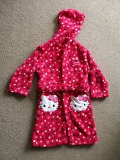 Girls Hello Kitty Pink Dressing Gown Age 7 Years, Excellent Condition