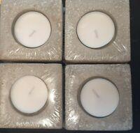 4x Teelichthalter Kerzenständer aus Beton á 10 x 10 x 10 cm Betonadventskranz