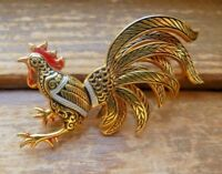 "Vintage Gold Tone Damascene Spain Rooster Brooch Red Black Silver Enamel 2"" Wide"