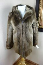 Excellent Small Hooded Beaver Fur Coat Jacket 3088s