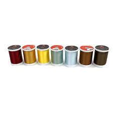 Superior Kimono Silk Thread Lot of 7 Spools Brown Yellow Blue Green Red