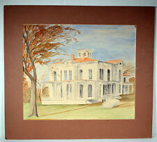 "16"" Vintage Watercolor Painting on Paper Americana House Building Great Lines"