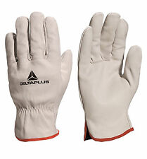 Delta Plus Drivers Safety Gloves Work Leather Cowhide Full Grain Cream (FBN49)