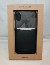 Coach iPhone X XS Canvas & Leather Pocket Snap On Case - 76855 - Camo & Black
