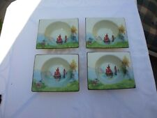 FOUR CLARICE CLIFF BIARRITZ  ROYAL STAFFORDSHIRE ART DECO FRUIT DISHES  C.1930'S