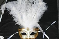 White Fashionable Venetian Feather Mask with Ostrich Feather -  Masquerade Mask
