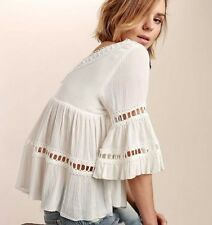 M New ANTHROPOLOGIE Bohemian Cream Eyelet Lace Detail Crochet Top Blouse Medium