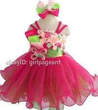 Infant/toddler/kids/baby Girl's Pink/Green Lace Floral Pageant Dress 2T G125-1