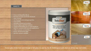 TekDur Professional Wood Lacquer/Varnish Fast drying Highly durable resistant