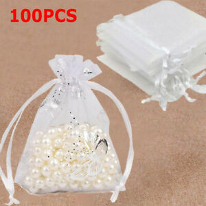 100X Large White Butterfly Organza Bag Voile Net Drawstring Favour Pouch 11*16CM