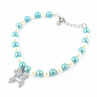 Metal Dog Decor Blue White Faux Pearls Adjustable Necklace Collar L for Puppy