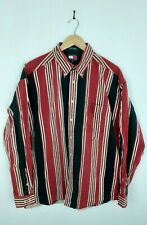 Mens Tommy Hilfiger Red And Black Striped Vintage Long Sleeve Shirt Size XL