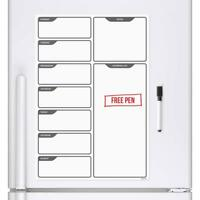 Fridge Board Magnetic & Pen Notice Memo Drywipe Whiteboard Large Daily Planner
