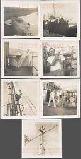 Lot of 7 Vintage Photos Navy Men Unusual WWII Shipwreck Iwo Jima 732354