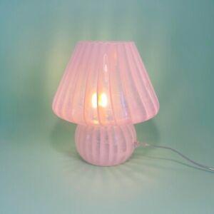 🌸 lovely pink MURANO mushroom lamp filigrana glass lampada fungo Murano 🌸