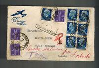1939 Milan Italy Airmail cover to Havana Enrico Cohen Banca Popular Bank Judaica