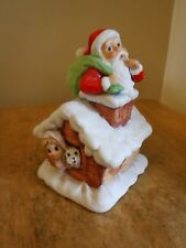 Vintage Santa on rooftop Chimney Music Box Ceramic @1980 plays Jingle Bells
