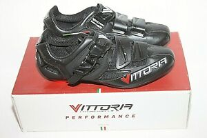Men's Vittoria Speed Road Shoes Black Cycling Shoe, Made in ITALY Sz 38 / 6 NIB