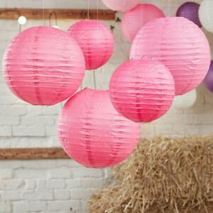 12pk PINK Chinese Paper 12' Lantern Wedding Festival Party Hanging Decorations