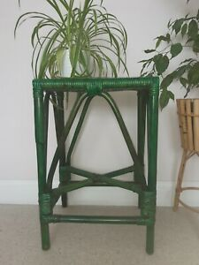 Beautiful Vintage Green Bamboo Stool Plant Stand