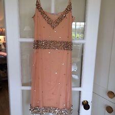Pink Soda Peach Silver Sequin Party RaceS Wedding Dress Size 10-12 Medium