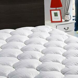 """Overfilled Fitted Mattress Pad Cover with Down Alternative(8-21"""" Deep Pocket)"""